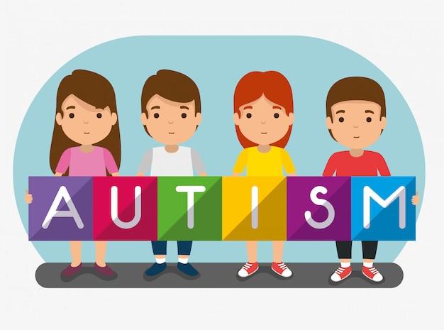 Crianças junto à campanha do dia do autismo Vetor grátis