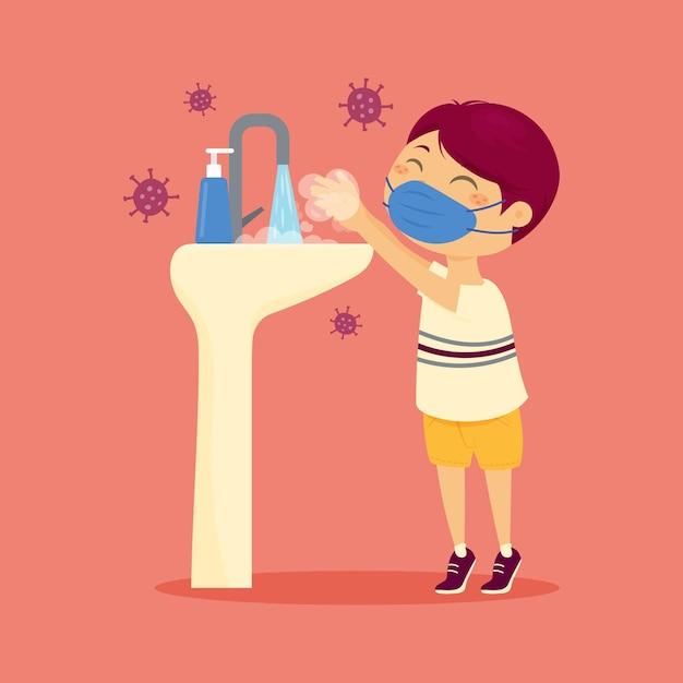 Crianças lavando as mãos na escola Vetor Premium