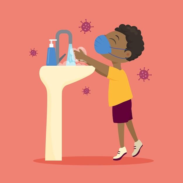 Crianças lavando as mãos na escola Vetor grátis