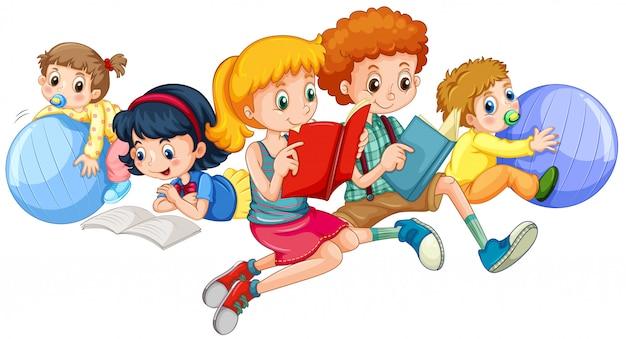 Crianças, leitura, e, tocando, com, bolas Vetor grátis