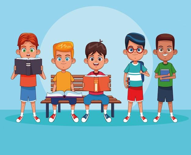 Crianças, leitura, livros, desenhos animados Vetor Premium