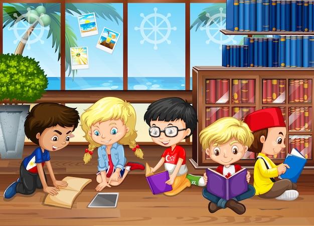 Crianças, leitura, livros, em, a, biblioteca Vetor grátis