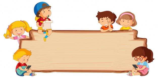 Crianças, ligado, vazio, tábua madeira Vetor Premium
