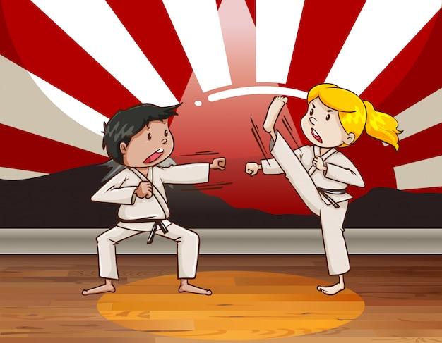Crianças lutando artes marciais Vetor grátis