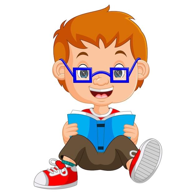crianças menino lendo livro dos desenhos animados baixar vetores