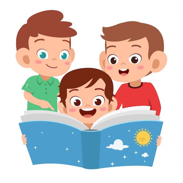 Crianças meninos lendo juntos Vetor Premium