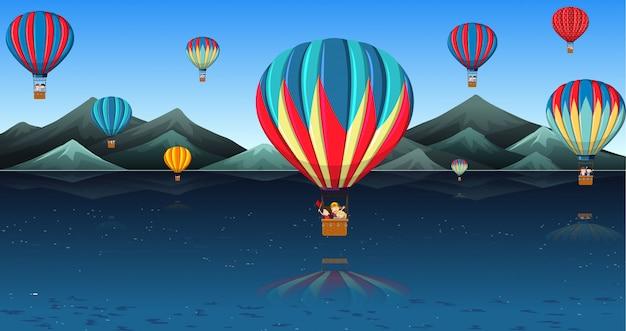 Crianças, montando, balão ar quente Vetor grátis