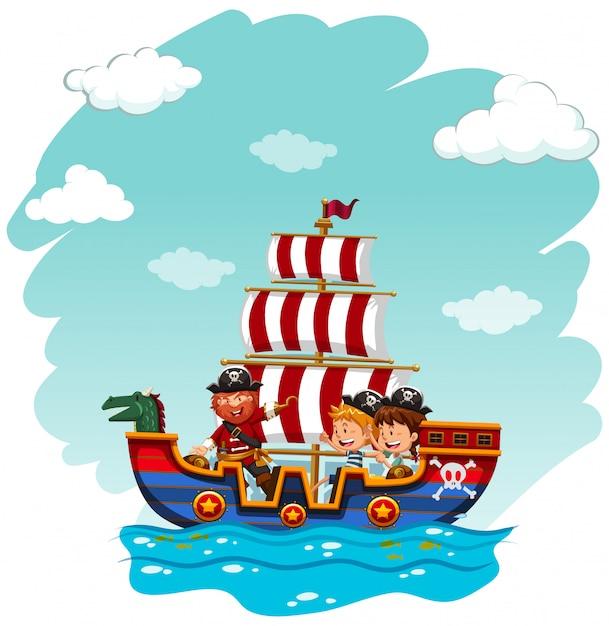 Crianças, montando, viking, bote Vetor grátis