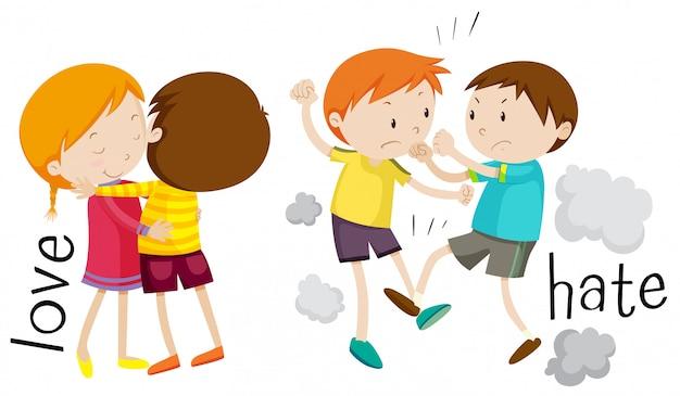 Crianças mostrando amor e ódio Vetor grátis