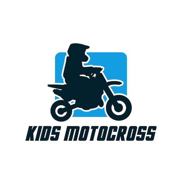 Crianças motocross design de logotipo simples silhueta distintivo sinal vector Vetor Premium