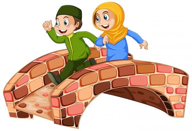 Crianças muçulmanas atravessam a ponte Vetor grátis