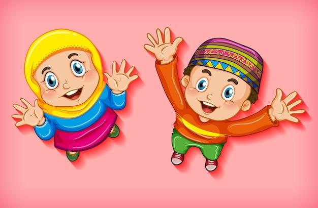 Crianças muçulmanas felizes de vista aérea Vetor grátis