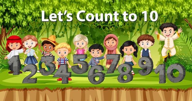 Crianças multiculturais e número no fundo da selva Vetor Premium