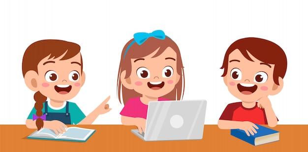 Crianças na escola Vetor Premium