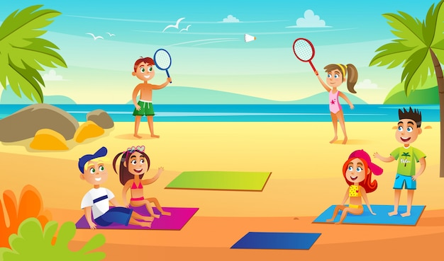 Crianças na praia perto do mar se divertindo, atividades. Vetor Premium