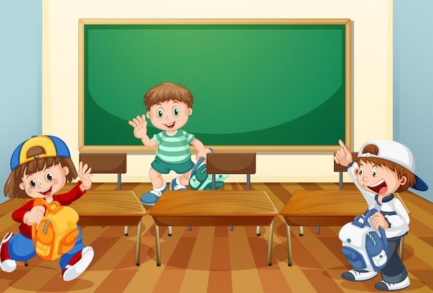 Crianças na sala de aula com livros Vetor grátis