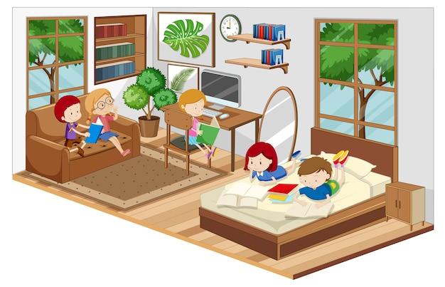 Crianças na sala de estar com móveis Vetor grátis