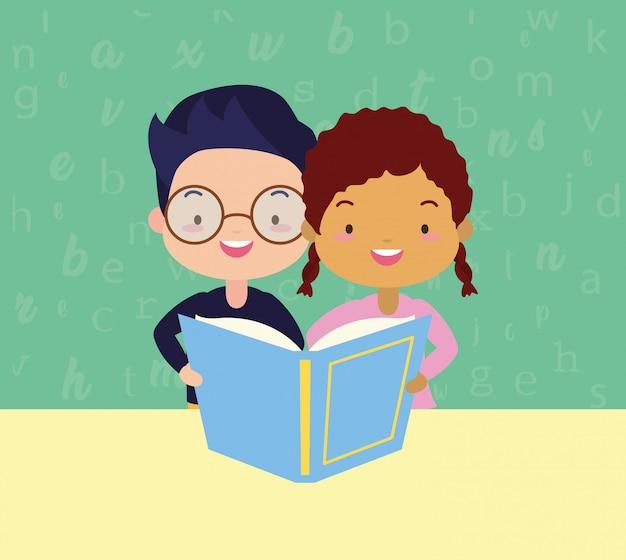 Crianças no kid no dia mundial do livro Vetor grátis