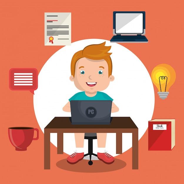 Crianças online Vetor grátis