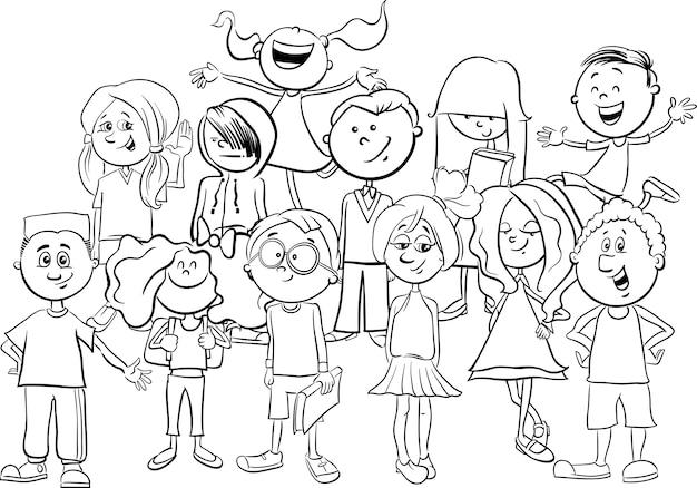 Criancas Ou Adolescentes Para Colorir Vetor Premium