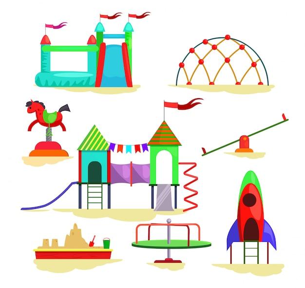 Crianças, pátio recreio, ícones Vetor grátis
