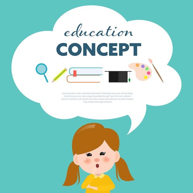 Crianças, pensando, para, escola, aprendizagem Vetor Premium