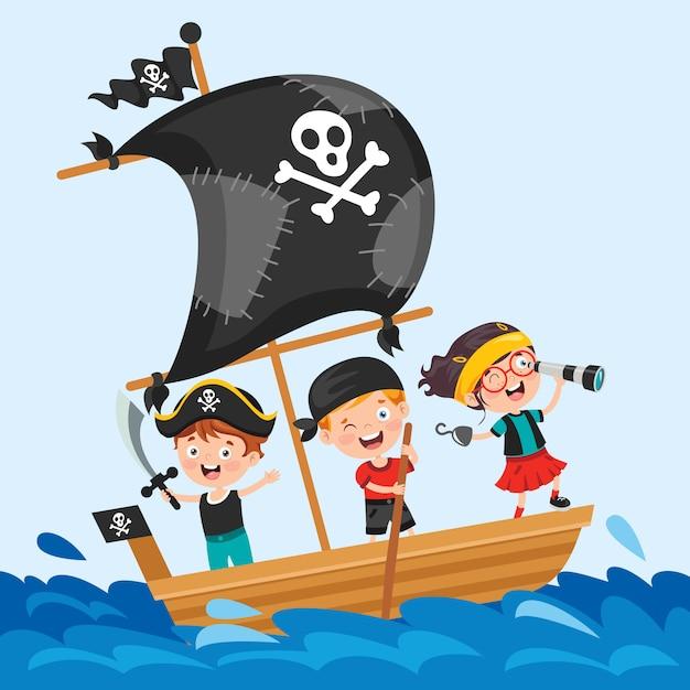 Crianças pequenas bonitos do pirata que levantam Vetor Premium