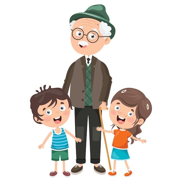 Crianças pequenas com seus avós Vetor Premium