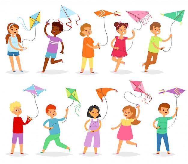 Crianças pipa criança personagem menino ou menina brincando e infantil kiteflying atividade ilustração conjunto de crianças com jogo de pipas no fundo branco Vetor Premium