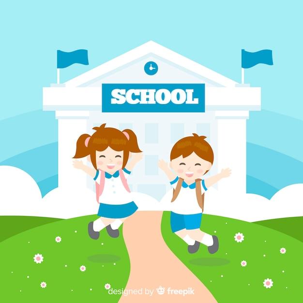 Crianças planas de volta ao fundo da escola Vetor grátis