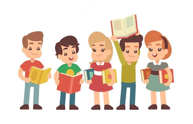 Crianças prées-escolar dos desenhos animados com livros. aprendizagem e stadying conceito vector Vetor Premium