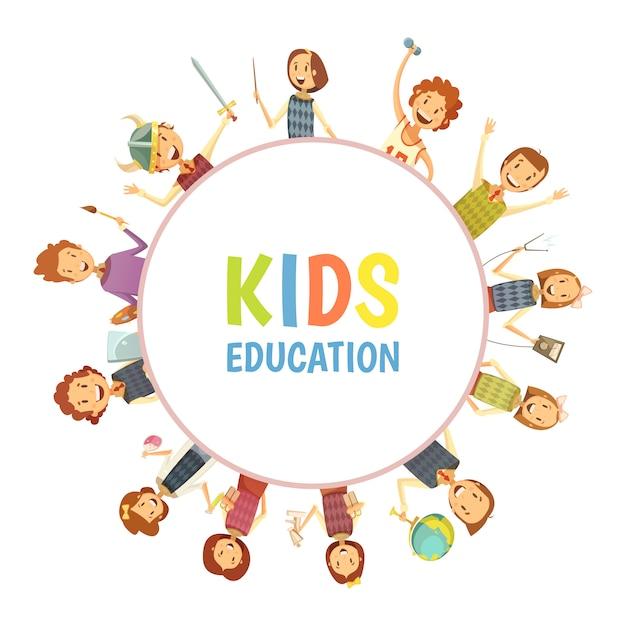 Crianças primárias do ensino fundamental e médio Vetor grátis