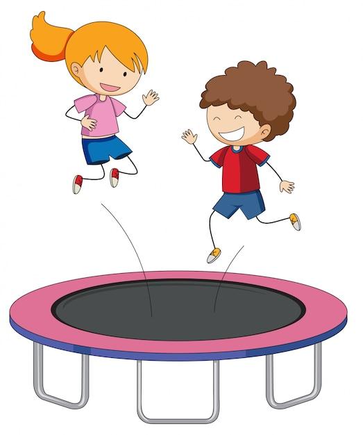 Crianças, pular, ligado, trampoline Vetor grátis