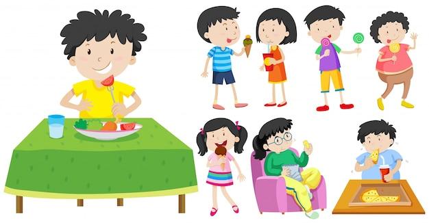 Crianças que comem ilustração alimentícia saudável e insalubre Vetor grátis