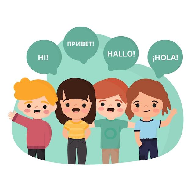 Crianças que falam línguas diferentes Vetor grátis