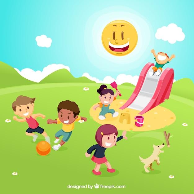 Crianças que jogam no campo de jogos Vetor grátis