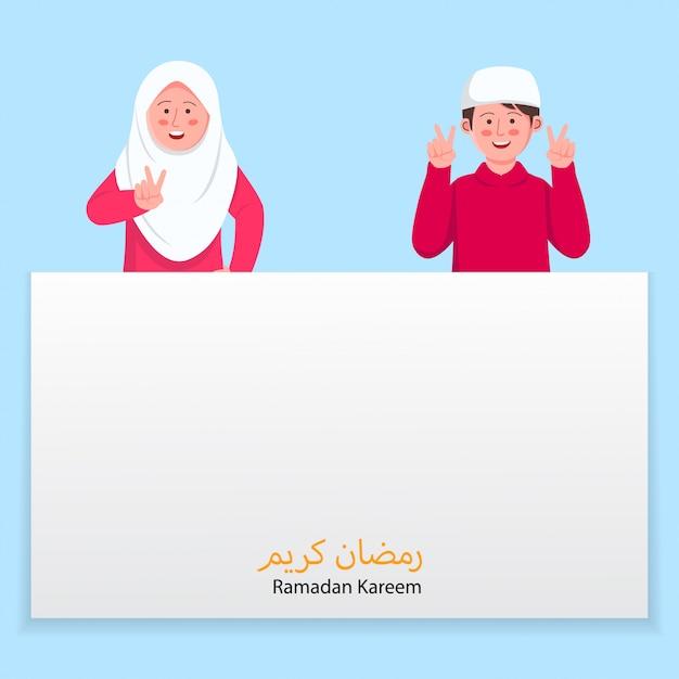 Crianças, ramadan, kareem, cartão cumprimento, com, cartaz, copyspace Vetor Premium