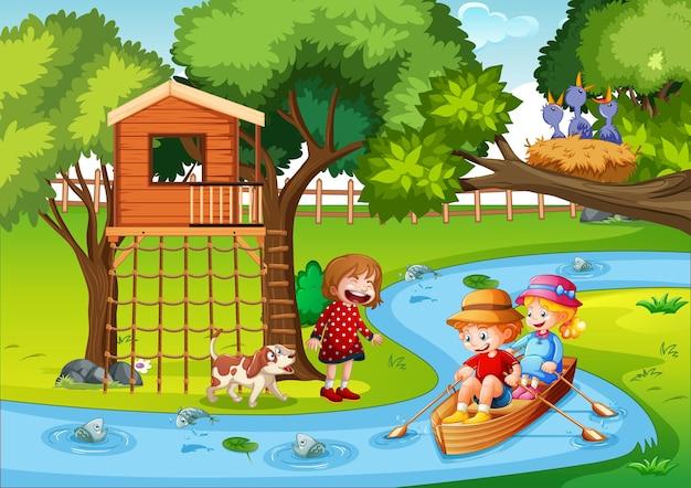 Crianças remando o barco na cena da floresta do riacho Vetor grátis