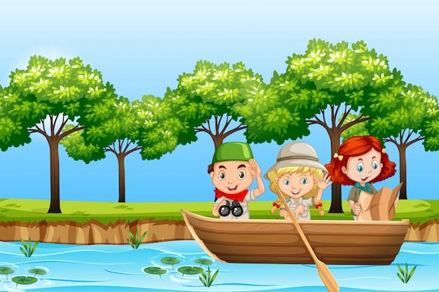 Crianças remar barco de madeira Vetor grátis
