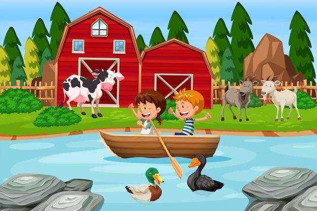 Crianças, remar, barco madeira, em, fazenda Vetor Premium