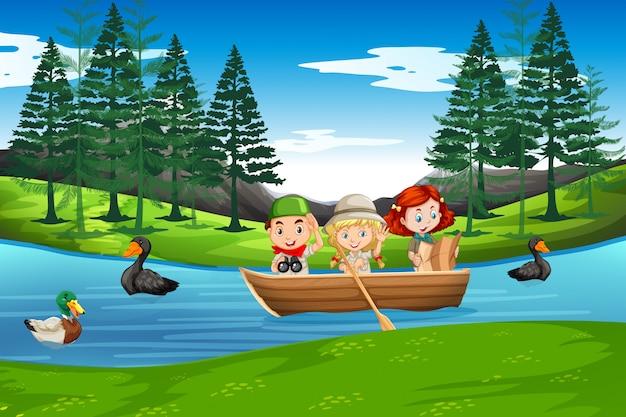 Crianças, remo, ligado, barco madeira Vetor Premium