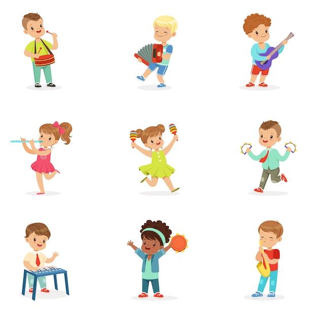 Crianças se divertindo ao ar livre, vestindo roupas coloridas. desenhos animados ilustrações coloridas detalhadas sobre fundo branco Vetor Premium