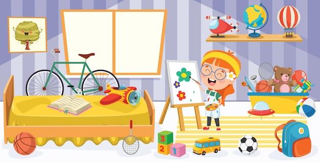 Crianças se divertindo em um quarto Vetor Premium