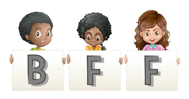 Crianças segurando a palavra para bff Vetor grátis
