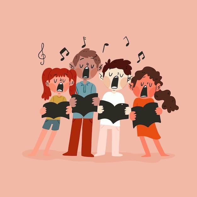 Crianças segurando livros e cantando em coro Vetor grátis