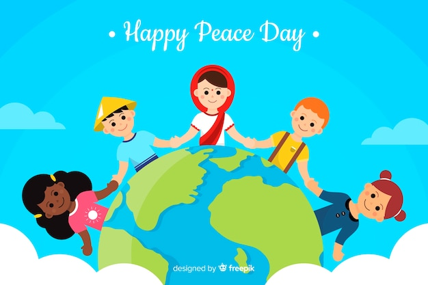 Crianças, segurar passa, ao redor, a, palavra, paz, dia, fundo Vetor grátis
