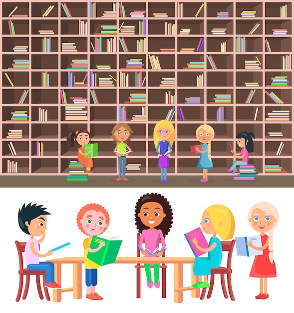 Crianças, sentando, tabela, em, biblioteca, com, grande, estante Vetor Premium