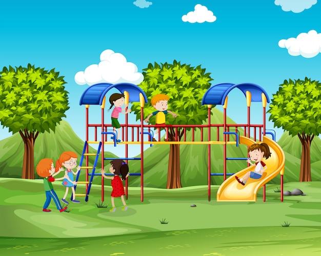 Crianças, subindo, a, playhouse Vetor grátis
