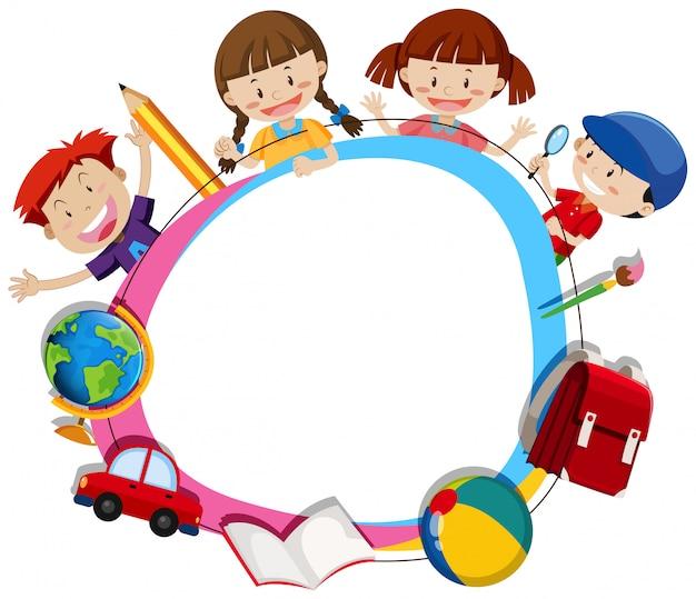 Crianças, surroding, em branco, círculo, quadro Vetor Premium