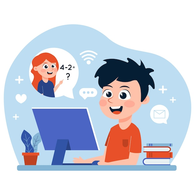 Crian�as tendo aulas on-line   Vetor Gr�tis